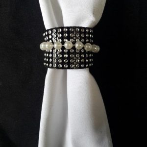 All Event Africa Black Serviette Ring with Diamante and Pearls